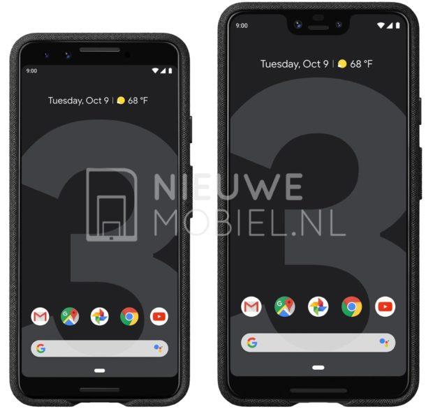 Google Pixel 3 y Pixel 3 XL filtrado en renderizaciones