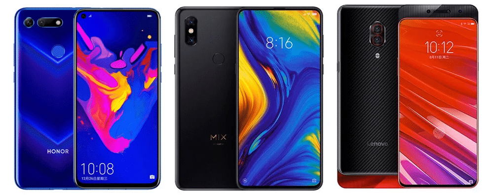 Honor V20 vs Xiaomi Mi Mix 3 vs Lenovo Z5 Pro GT