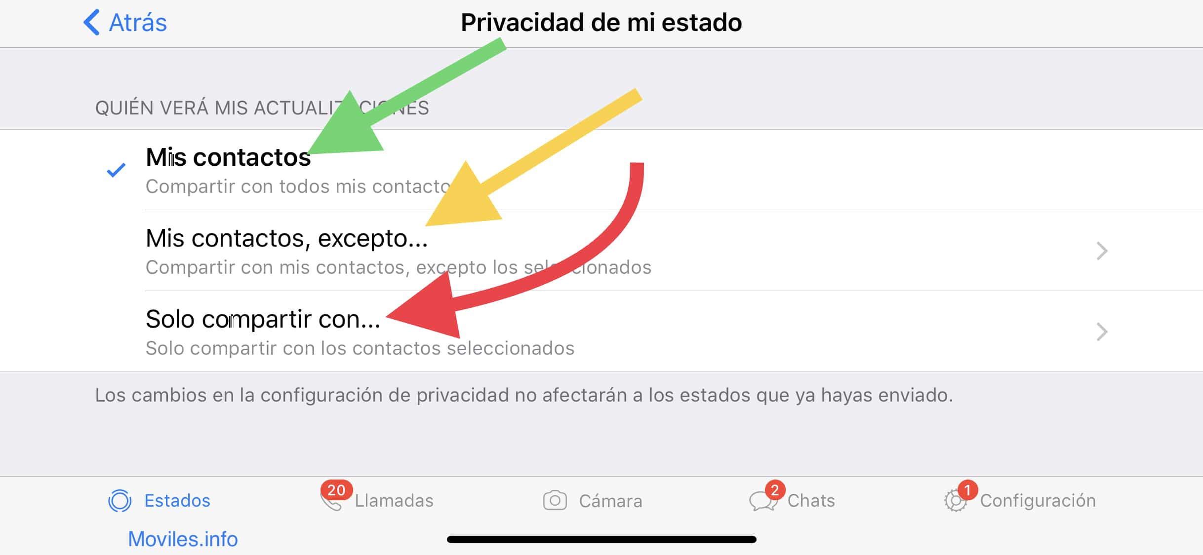 ocultar el estado de WhatsApp